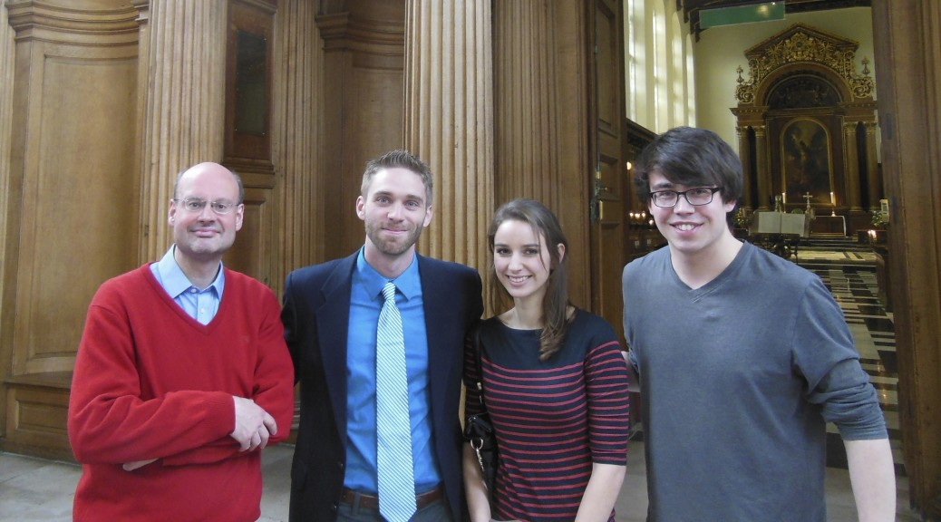 After European premiere of Ave Maria No. 9 - Rosa Mystica, by Trinity College Choir. Left to right: Stephen Layton (conductor), Daniel Knaggs, Anna Cavaliero (soprano solo), Owain Park (organ). May 6, 2014.